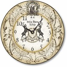 Item C9118 European Lodge Deer Clock
