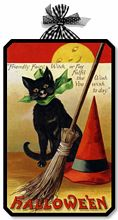 Item 05006 Black Cat Vintage Victorian Style Halloween Plaque