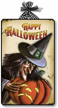 Item 10012 Vintage Style Halloween Witch Plaque